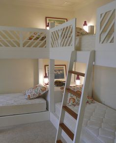 """quadruple bunk beds- great for a large family, or a sleepover room at grandma and grandpa's. I love the corner """"nightstand"""" with lighting!"""
