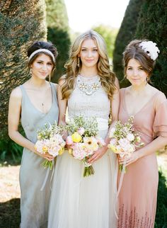 Peach Bridesmaid Dress and Grey Bridesmaid Dress