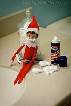 Shaving | Elf On The Shelf Ideas. #elfontheshelf #elfonashelf #elf #Christmas #ideas