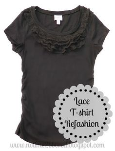 No time to be bored: Easy Lace Ruffle T-shirt Refashion - Tutorial