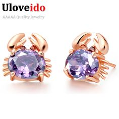 Find More Stud Earrings Information about Stud Earrings with Stones Red Blue Purple Rose Gold Plated Earings Pendientes 2016 Gifts for Women Crystal Jewelry Uloveido R695,High Quality earring men,China earrings rose Suppliers, Cheap earring stand from Uloveido Official Store on Aliexpress.com