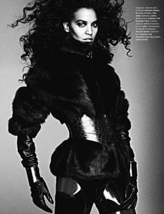 """NUMERO MAGAZINE: Liya Kebede in """"La Guerriere"""" by Photographer Ben Hassett - Image Amplified: The Flash and Glam of All Things Pop Culture. From the Runway to the Red Carpet, High Fashion to Music, Movie Stars to Supermodels. Liya Kebede, Dark Look, Warrior Queen, Thing 1, Fetish Fashion, Leather Design, Daily Fashion, High Fashion, Leather Fashion"""