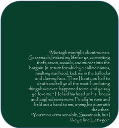 """Jamie - and Claire - Fraser, """"You're no verra sensible"""", from Diana Gabaldon's Cross Stitch/Outlander"""