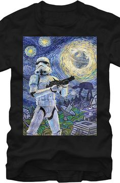Star Wars Starry Night T-Shirt The art has a grand master's look, but this t-shirt is designed with popularity and humor in mind from the Star Wars films.