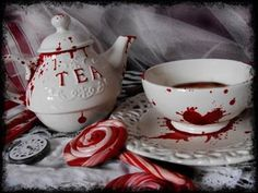 Bloody tea party set - Tea Set - Ideas of Tea Set - Bloody tea party set Goth Home, Gothic House, Gothic Mansion, Haunted Mansion, Teapots And Cups, Favorite Holiday, Cup And Saucer, Tea Time, Halloween Decorations