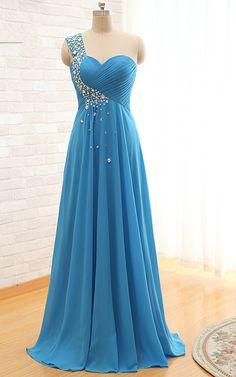 Pleated Beading Blue Sleeveless One Shoulder Floor Length Chiffon A Line Court Train Long Prom Dress