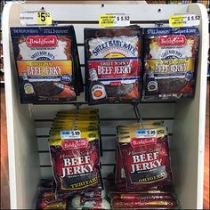 This Sweet Baby Ray's Vs Bridgeford Beef Jerky Endcap can promote to its own heart's content with multiple merchandise lines. Sweet Baby Ray, Beef Jerky, Food, Meal, Essen, Hoods, Meals, Eten