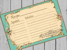 Aqua Blue Recipe Card. The perfect recipe card for those days when youre feeling a little fancy with Its Victorian flourishes and little flowers.