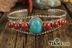 https://tskies.com Turquoise Coral Row Bracelet by Roberta Begay - Turquoise Skies