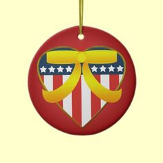 Patriotic Heart Yellow Ribbon Custom Ornament by XG Designs NYC. $18.75 #patriotic #military #christmas