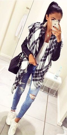#fall #outfits  White Sneakers + Blue Jeans + White Top + Scarf