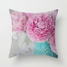Shabby Chic Floral Throw Pillow ~ Pink Peony Pillow Cover ~  Teal Boudoir Pillow, Pink Floral Home Decor, Flower Pillow, Botanical Decor Country Style Curtains, Pink Peonies, Peony, Teal Throw Pillows, Natural Pillows, Botanical Decor, Shabby Chic Curtains, Flower Pillow, Custom Pillows