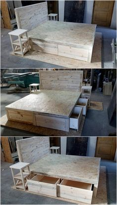 You can now make this pallet wood bed which contains quite huge drawers for storage. You can also make end tables with this bed set. We have used new wooden pallets to make this bedroom furniture. You have to make drawers on all the sides of this bed.
