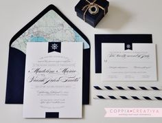 Nautical Wedding Invitation by CoppiaCreativa on Etsy-  $264 for 80... Custom print & envelope colors!