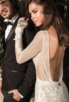 elihav sasson 2018 capsule bridal long sleeves v neck full embellishment high slit skirt sheath wedding dress open back chapel train (11) zbv