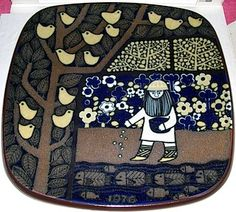 Arabia Kalevala Annual Plate 1976  The picture shows Väinämöinen planting seeds in his flourishing garden, while birds are sitting in the trees and fishes are swimming below.