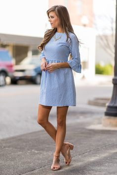 """""""Dreaming Of The Sun Dress, Sky Blue""""Spring and summer time call for seersucker everything! Which makes this dress a must have! #newarrivals #shopthemint"""