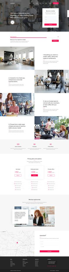 Co-working or Shared Office Space Website Layout. WordPress Theme. Office Rental. Modern Office for Start-ups.