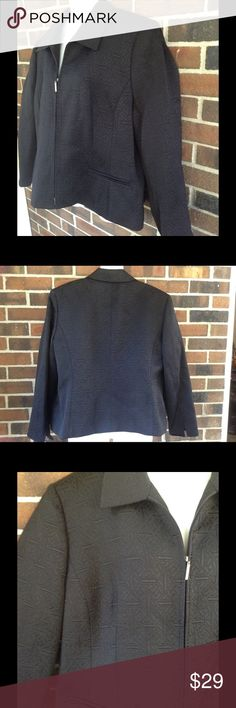 NWT 18W Textured Black Jacket Zipper Closure New with tag, fully lined black textured jacket with a front zipper. Fully lined / mock front pockets / dress up for work or down for casual weekends / bust: 50, waist: 44, inseam: 14 Norton Mcnaughton Jackets & Coats Blazers
