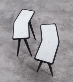 Gio Ponti and Pietro Chiesa; Ebonised Wood and Mirrored Glass Side Tables for Fontana Arte, c1940.