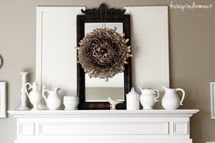 I really like this mantle... simple, monochromatic...  and I really enjoy the blog, too