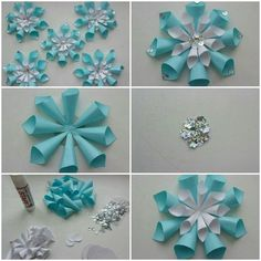 Image about diy in 🌻 Crafts 🌻 by 💜 Sweet Cabello 💜 Paper Christmas Decorations, Christmas Paper Crafts, Holiday Crafts, Paper Flowers Craft, Paper Crafts Origami, Flower Crafts, Christmas Origami, Christmas Diy, Festa Frozen Fever