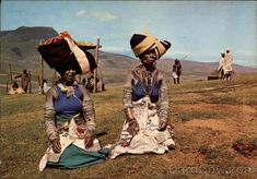 Continental Chrome Postcard Tribal life - Colourful Xhosa women in the Transkei (South-Africa) African Wear, African Women, African Fashion, Xhosa Attire, Africa People, African Tribes, African Culture, African Beauty, Black History