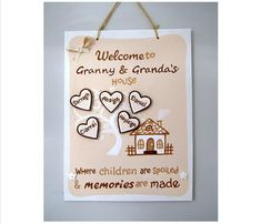 Personalised Gift for Granny. Family Tree with Grandchildren's Names School Signs, Personalized Gifts, Handmade Gifts, Hand Painted Signs, Heart Shapes, Names, Messages, Memories, Christmas Ornaments