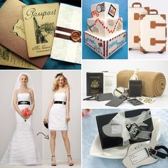 Inspire me Jet Setters- Steamline Luggage, Honeymooners Gift set by Navy & Lavender, Kate Aspen Luggage Tag, Par Avion Cake by Sweet Element, and convertible wedding gown by David's Bridal