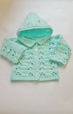 Green Crocheted Hooded Sweater Jacket, Button up Sweater, Baby Jacket, Crochet Baby Hoody, Baby Shower Gift, Infant Hooded Sweater by KimsCreations61 on Etsy