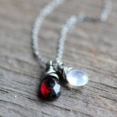 Garnet and Moonstone Necklace on Sterling Silver  by JarosDesigns, $34.00