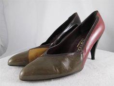 Mr Seymour Colorblock Pumps Heels Brown Green Tan Leather Vintage Spain 7 M #MrSeymour #PumpsClassics