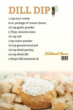 Dill Dip recipe using doTERRA Dill essential oil Dill Dip, Cooking With Essential Oils, Doterra Essential Oils, Doterra Blog, Elixir Floral, Dips, Recipe Using, Appetizer Recipes, Appetizers