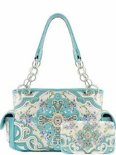 New!2014 Fashion Handbag Western Cross Flower Rhinestone Shoulder Purse+ Wallet