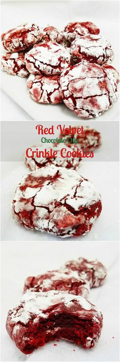 Red Velvet Chocolate Chip Crinkle Cookies by Rumbly in my Tumbly