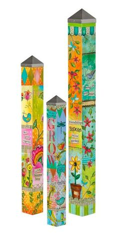 Is your nest blessed?  Vinyl Garden Poles with whimsical designs & vivid color ~ 3 simple messages of friendship, growth and belief.