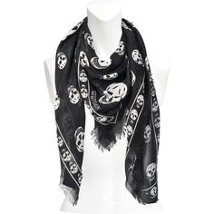 Alexander McQueen Skull scarf ($395) ❤ liked on Polyvore featuring accessories, scarves, multicoloured, multi colored scarves, colorful scarves, pure silk scarves, alexander mcqueen shawl and colorful shawl