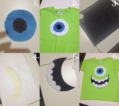 As promised in my Instalife post from this weekend, I wanted to get this tutorial up for the Mike Wazowski shirt I made my cousin for his Monster's University themed birthday party. I even di… Mike Wazowski Shirt, Diy Mike Wazowski Costume, Mike And Sully Costume, Group Halloween Costumes For Adults, Halloween Costumes For Work, Group Costumes, Disney Halloween, Couple Halloween, Halloween 2019