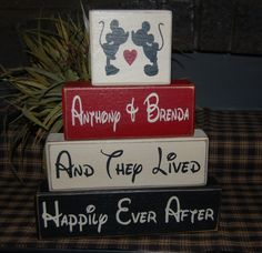 MICKEY MOUSE Family Last Name Established Date PERSONALIZED Wedding House Warming Gift Wood Sign Blocks Primitive Country Rustic Home Decor. $32.95, via Etsy.