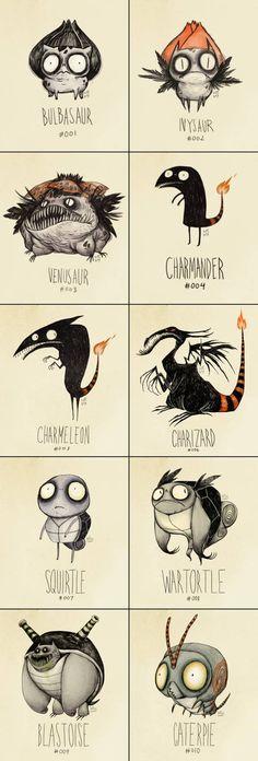 If Tim Burton Drew Pokemon-- these are adorable!
