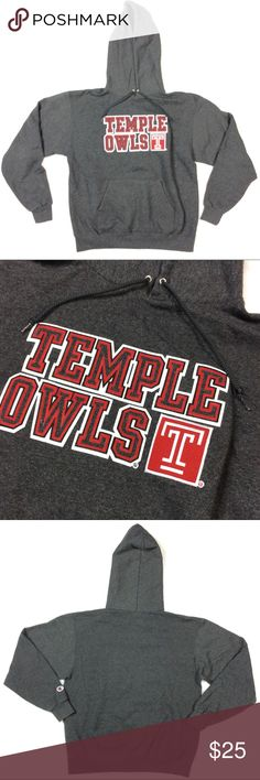 Temple Owls Sweatshirt Temple University 'owls' hooded sweatshirt. Rep your school!! Fleece interior. Champion brand hoodie. Dark grey throughout. Men's size medium, also fits women sizes small-large. Excellent condition, 9/10. Champion Shirts Sweatshirts & Hoodies