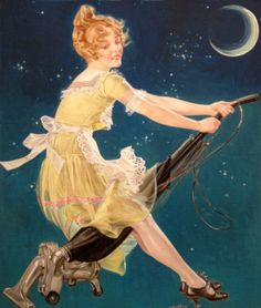 """""""A Modern Witch""""F. A. Leyendecker illustration for theOctober 1, 1923 issue of Life"""