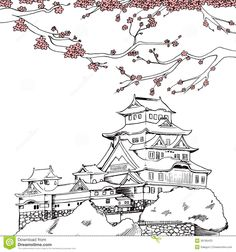 Japanese Sakura Drawing | art illustration of Japanese Himeji castle at spring with pink sakura ...