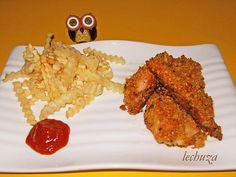 Pollo parmesano-plato ketchup