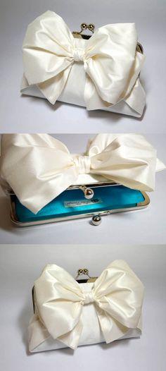 EllenVintage Silk Bow Clutch in Ivory Wedding by ellenVintage, $78.00