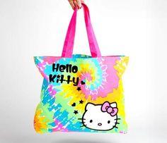 Hello Kitty Canvas Tote Bag: Rainbow Tie-Dye