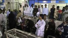 Image copyright                  AP                  Image caption                                      Relatives gathered at a hospital in Karachi                                At least 43 people have been killed and scores wounded, including women and children, in an explosion at a remote Sufi Muslim shrine in the Pakistani region of Balochistan, officials sa
