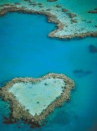 Aerial of Heart Reef, Great Barrier Reef