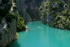 Verdon Canyon, France. France's version of the Grand Canyon. Breathtakingly beautiful. Saw this in 1983.
