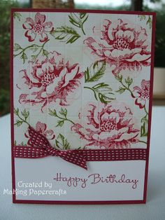 """SU Stippled Blossoms, Happiest Birthday Wishes, """"Tile Effect"""" technique, Raspberry Ripple and Pink Pirouette leaves in Old Olive (July 2, 2013)"""